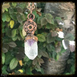 Clear Quartz and Amethyst Copper Necklace