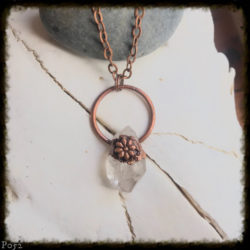 Clear Quartz Crystal and Flower Necklace