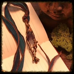 Raw Amtheyst and Oak Branch Necklace