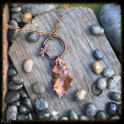 Oak Leaf, Dragonfly, Amethyst Necklace