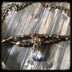 Oak, Citrine, Amethyst Necklace