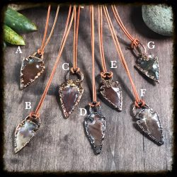 Arrowhead on Leather Pendant Jewelry