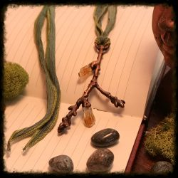 Oak Branch Necklace with Raw Citrine