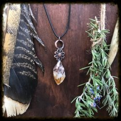 Citrine and Flower Necklace