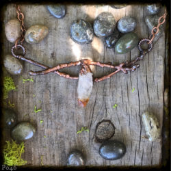 Citrine and Oak Branch Horizontal Necklace